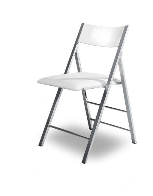 Nano-folding chair-in-white-gloss-and-silver  sc 1 st  Expand Furniture : set of 4 folding chairs - Cheerinfomania.Com