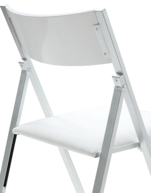 white nano folding chairs shown from the back view