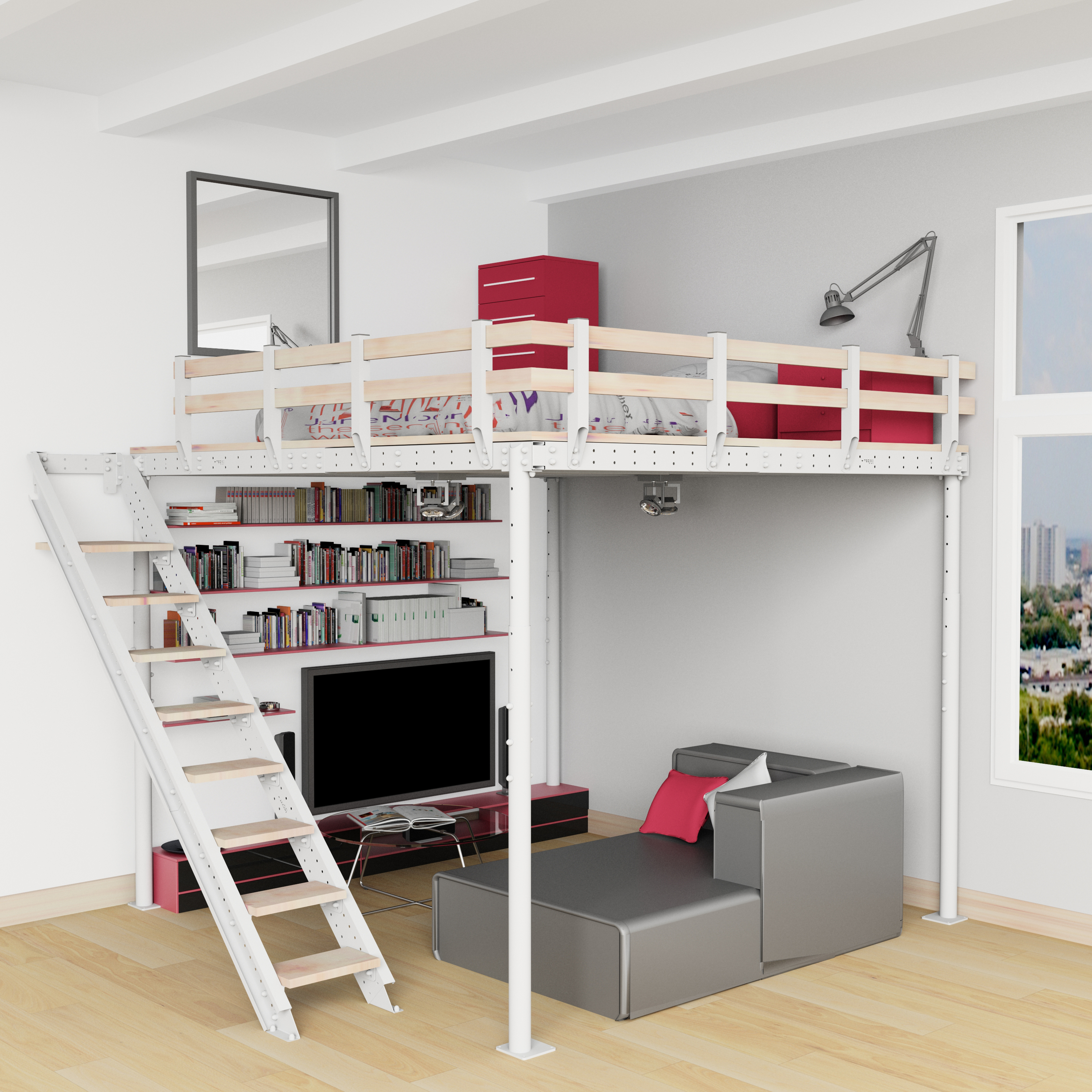 Diy loft bed kit expand furniture - Bed kind met mezzanine kantoor ...