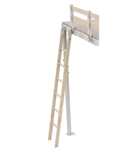 Loft bed ladder that is retractable