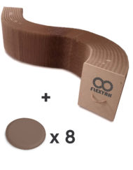 Flexyah-Bench-in-brown-expanding-paper-bench-with-8-padded-sandstone-color-seats