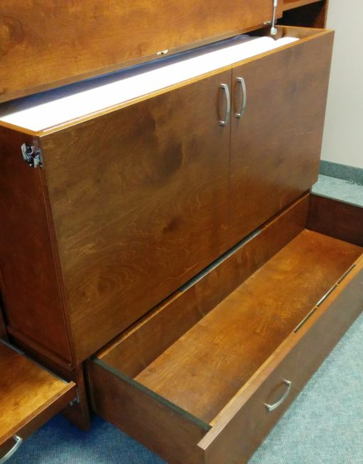 Storage and opening of cabinet bed
