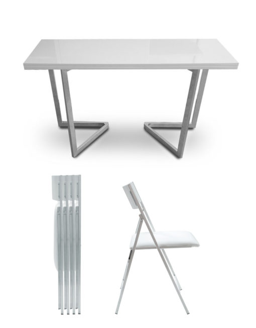 Flip-console-dining-set-in-white-gloss-matching-table-and-chairs-with-silver-legs