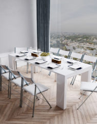 Junior-Giant-white-gloss-table-extending-dining-set-with-white-folding-chairs