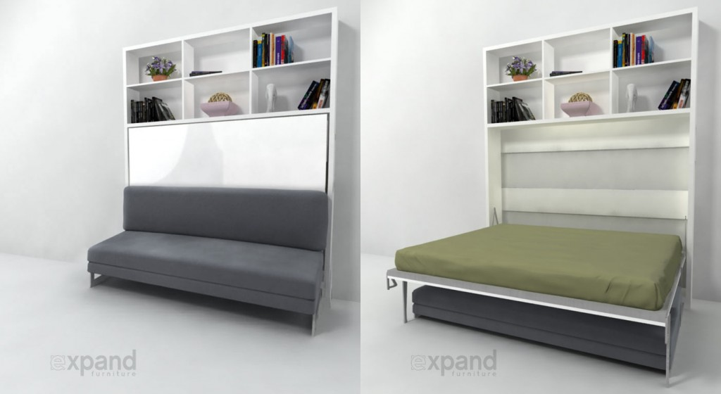 Multifunctional italian murphy beds expand furniture for Over bed shelving unit