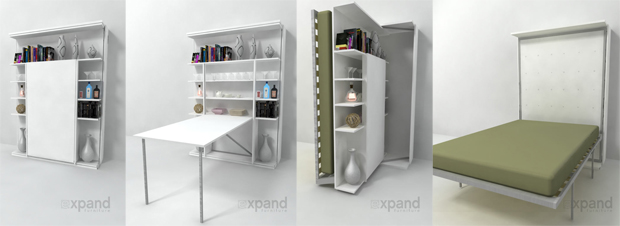 REVOLVING BOOK CASE, BED, & TABLE FROM EXPAND FURNITURE