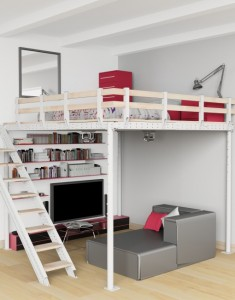 Make room with a loft bed and lounge set-up