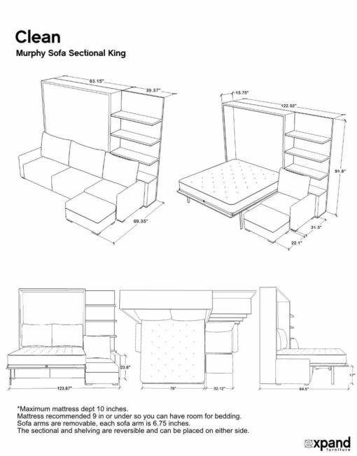 murphysofa clean sectional KING dimension sheet