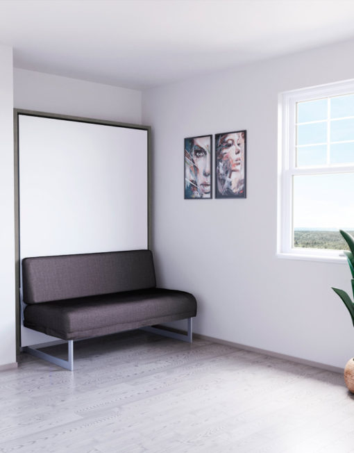 Compatto-compacting-Murphy-Bed-Sofa-white-with-mixed-wood-outside-and-grey-sofa-1