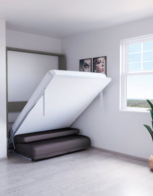Compatto-compacting-Murphy-Bed-Sofa-white-with-mixed-wood-outside-and-grey-sofa-2
