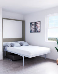 Compatto-compacting-Murphy-Bed-Sofa-white-with-mixed-wood-outside-and-grey-sofa-3