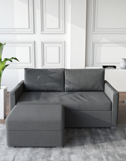 Harmony Sofa bed with ottoman in Iron Grey in modern setting