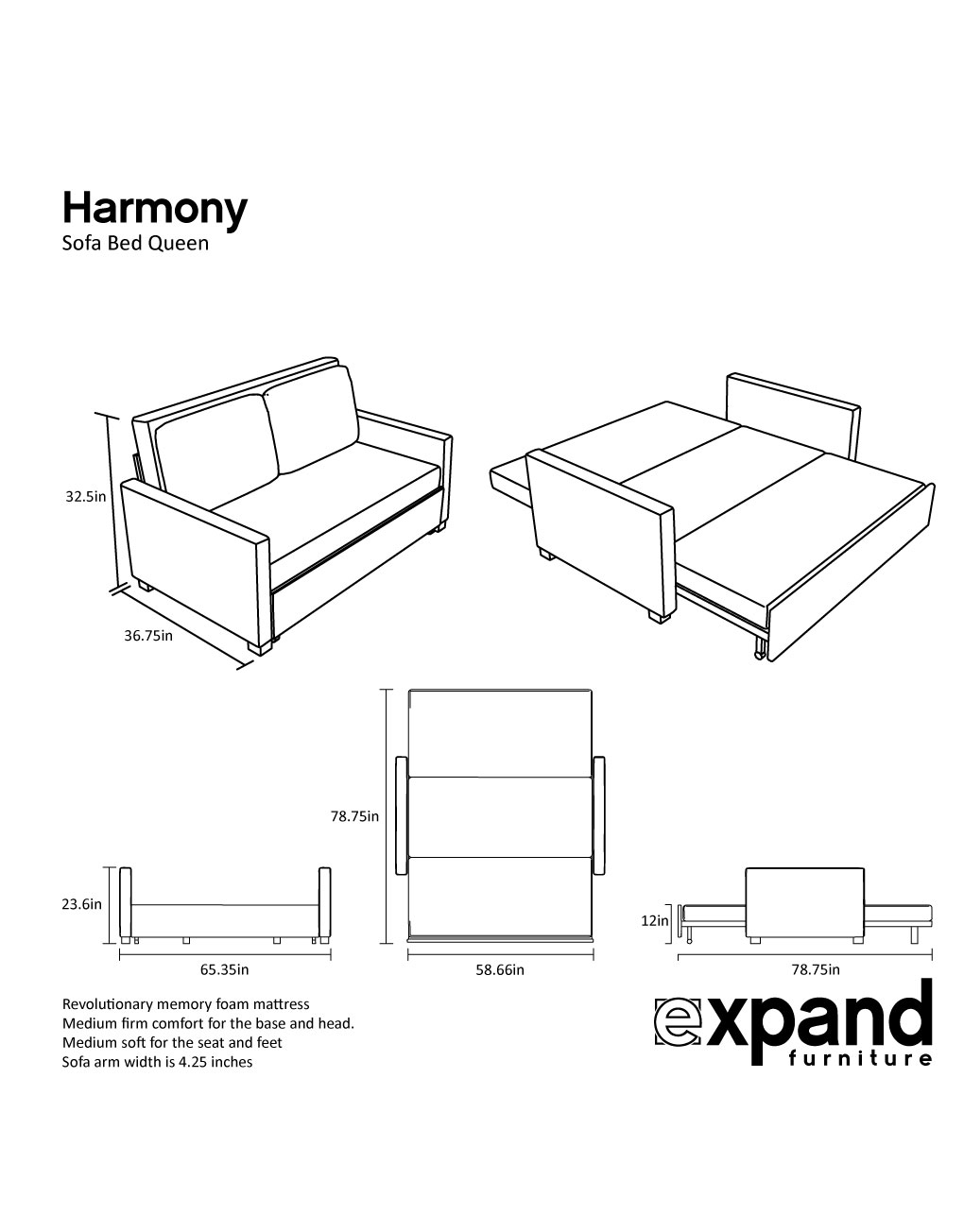 Harmony - Queen Size Memory Foam Sofa Bed | Expand ...