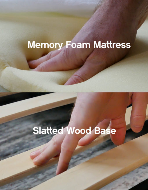 The Harmony has slatted-wood-base-and-memory-foam