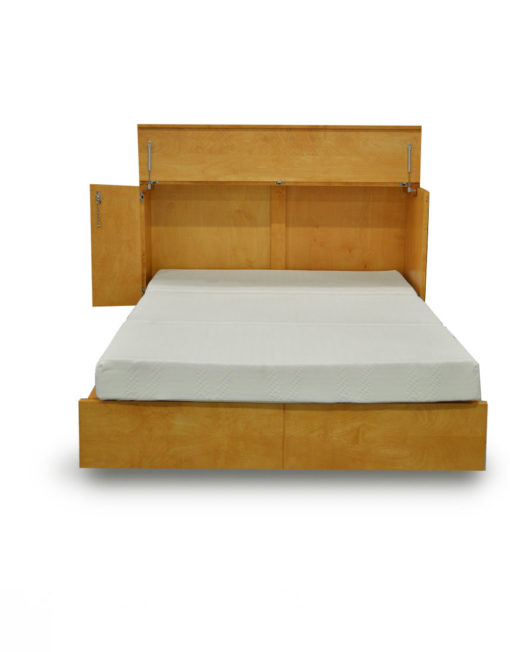 Cabinet-bed-in-natural-wood-color-no-handles