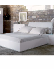 Italian-Lifting-Storage-Bed-in-white-gloss-with-curved-leather-headboard
