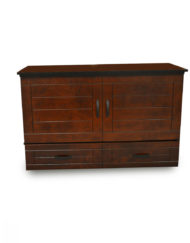 Metro-Cabinet-Bed-in-Dark-wood-and-styled