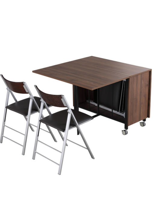 Trojan console in chocolate walnut with 4 chairs that store inside and has extension leaves
