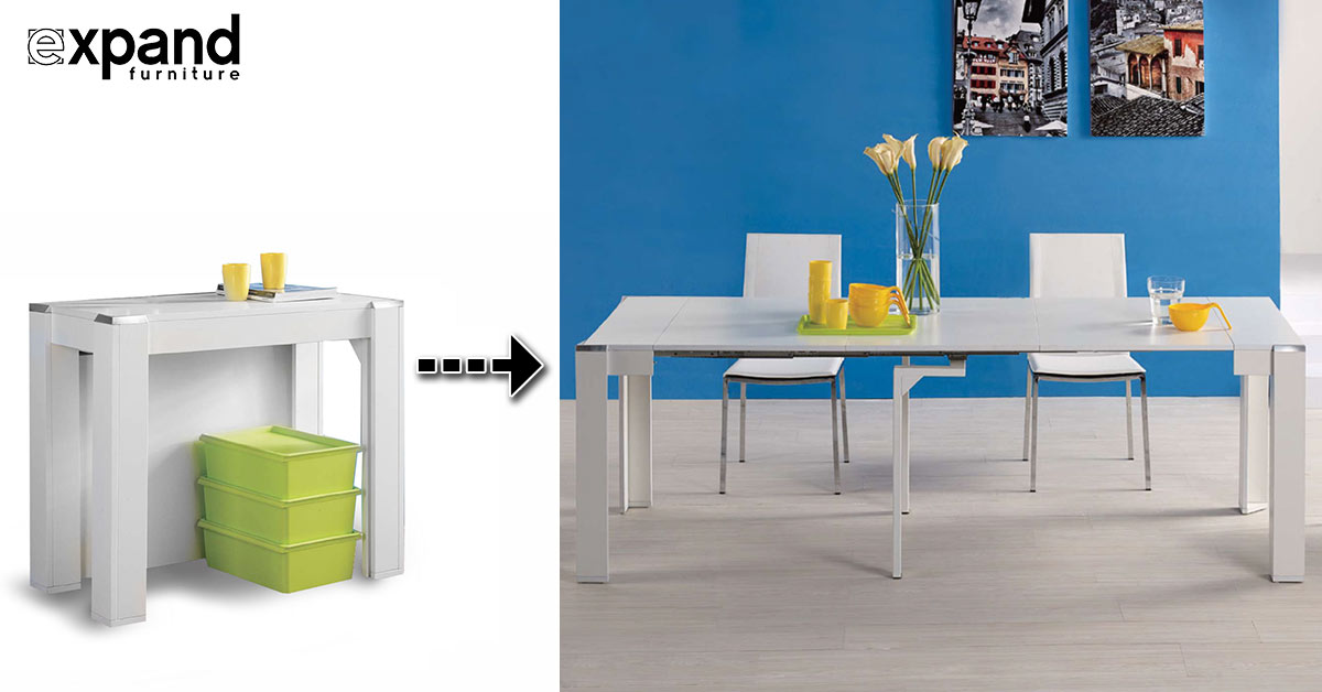 Console Dining Table expanda console with contained extensions | expand furniture