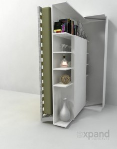 Revolving wall bed that comes with an organizing bookcase