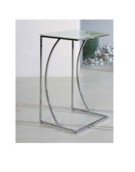 Crescent-side-table-in-chrome-and-white-glass