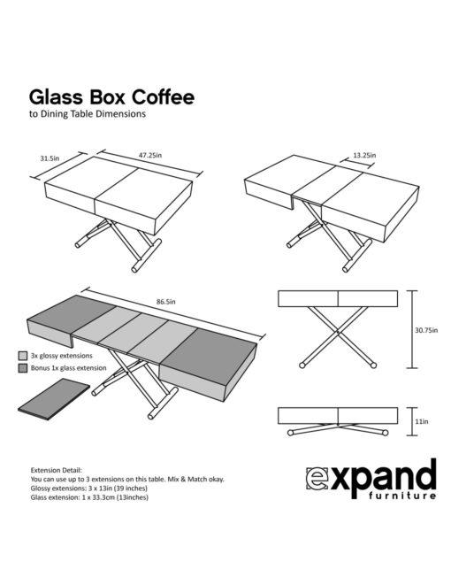 Glass box coffee dimensions