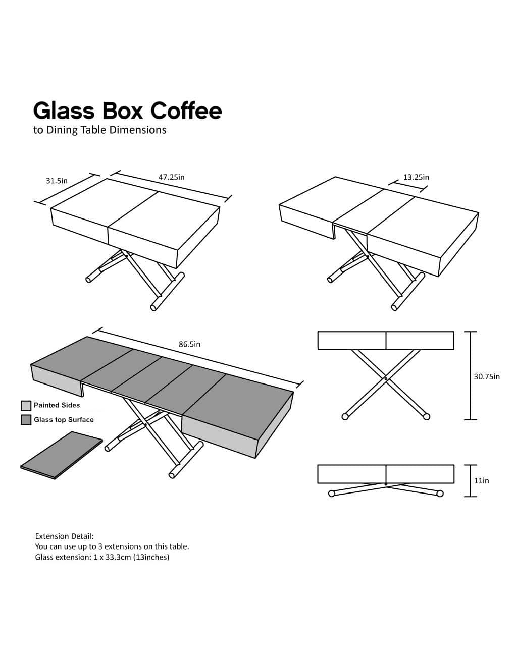 Glass Box Coffee Convertible Furniture Expand Furniture Folding Tables Smarter Wall Beds Space Savers
