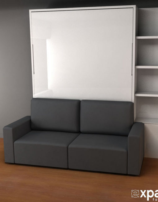 MurphySofa-Clean-wall-bed-in-dark-grey-fabric-and-glossy-white