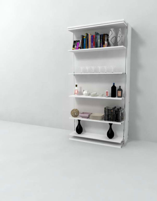 Single-revolving-wall-bed-with-shelving-from-italy