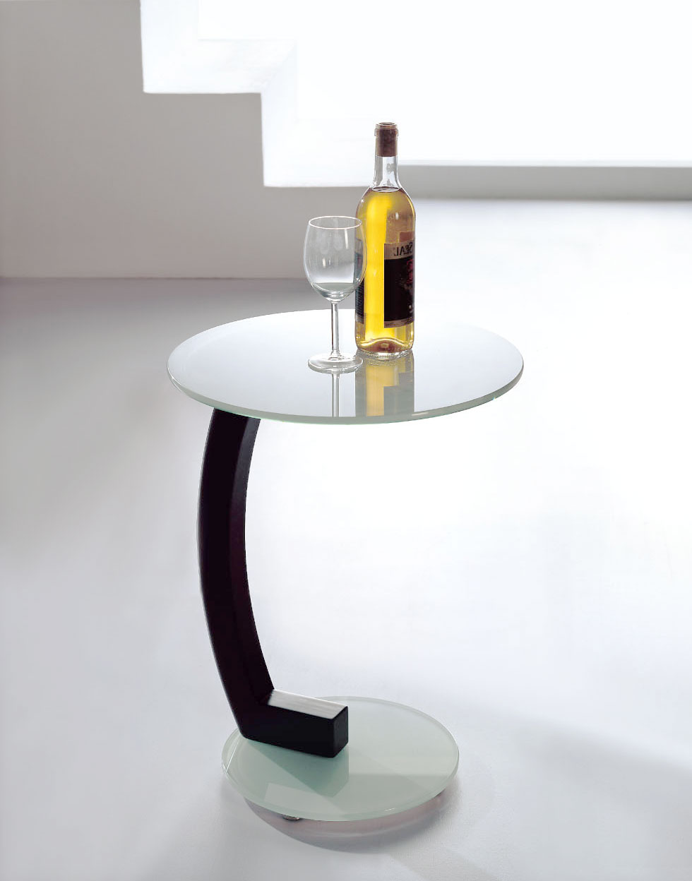 The lap side table in white glass expand furniture - White table with glass top ...