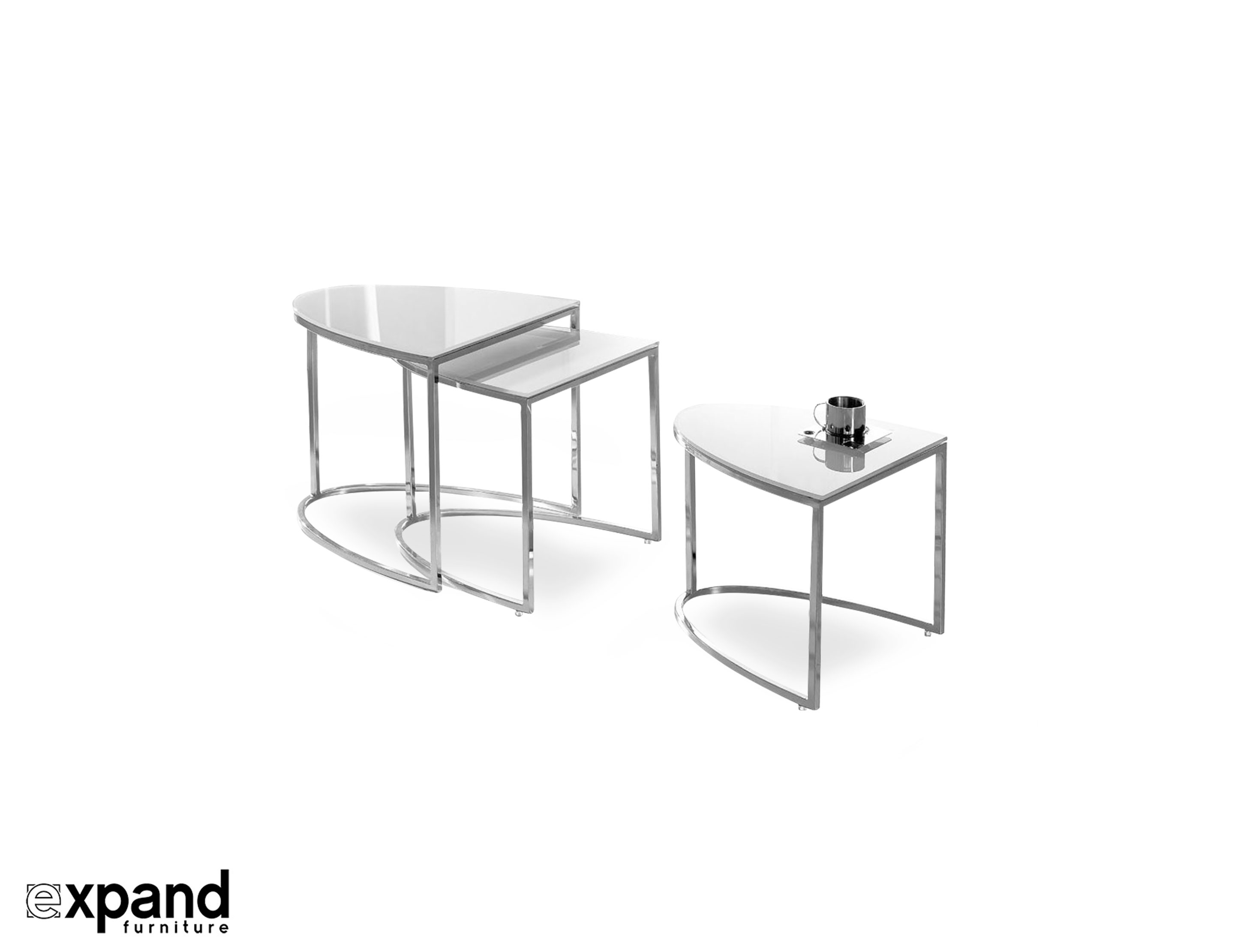 Modern white side table - Nesting Side Table With Modern White Glass