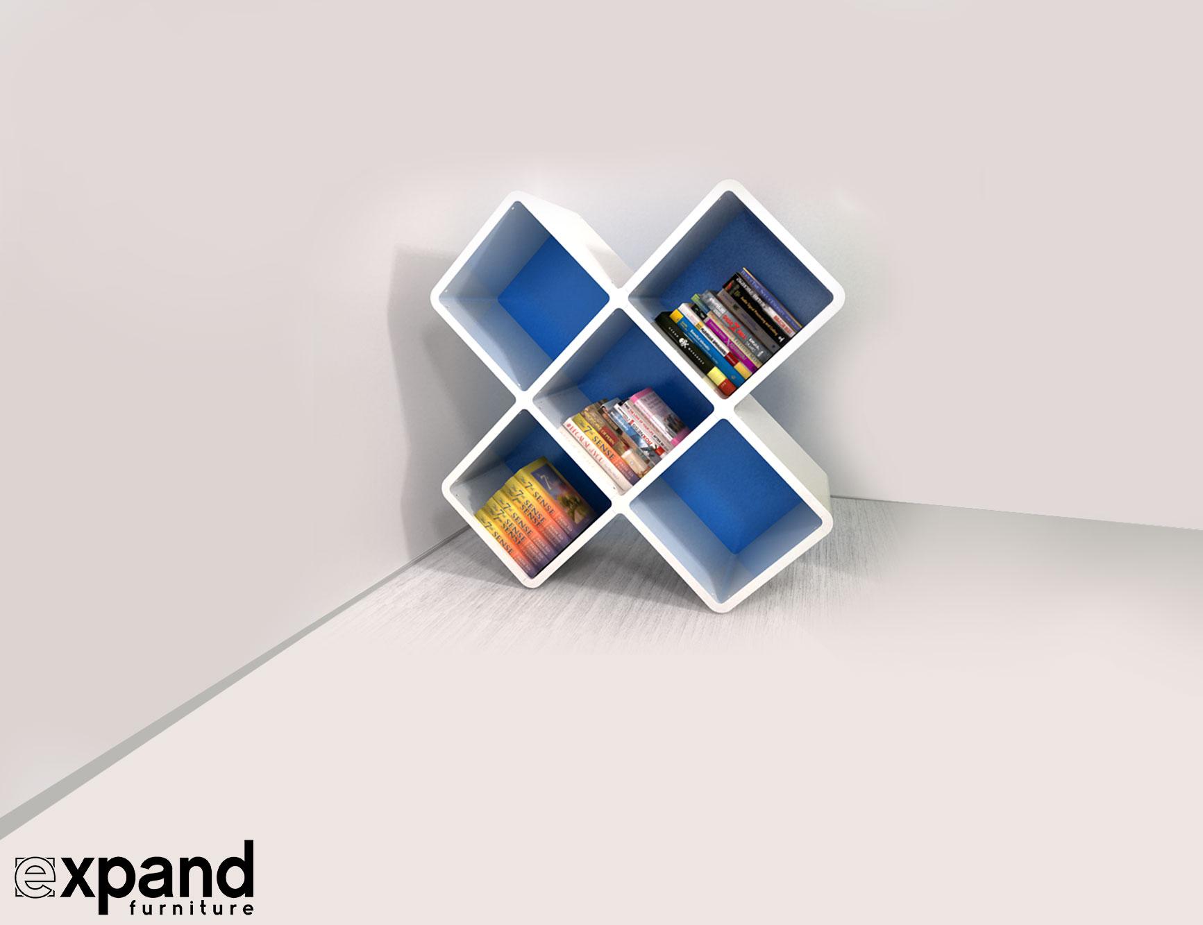 210 3x3cb X Shaped Bookshelf Unique Storage In
