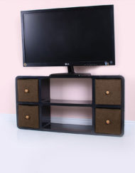 Black-Slim-Tv-Stand-that-can-hold-a-large-tv-with-brown-bins