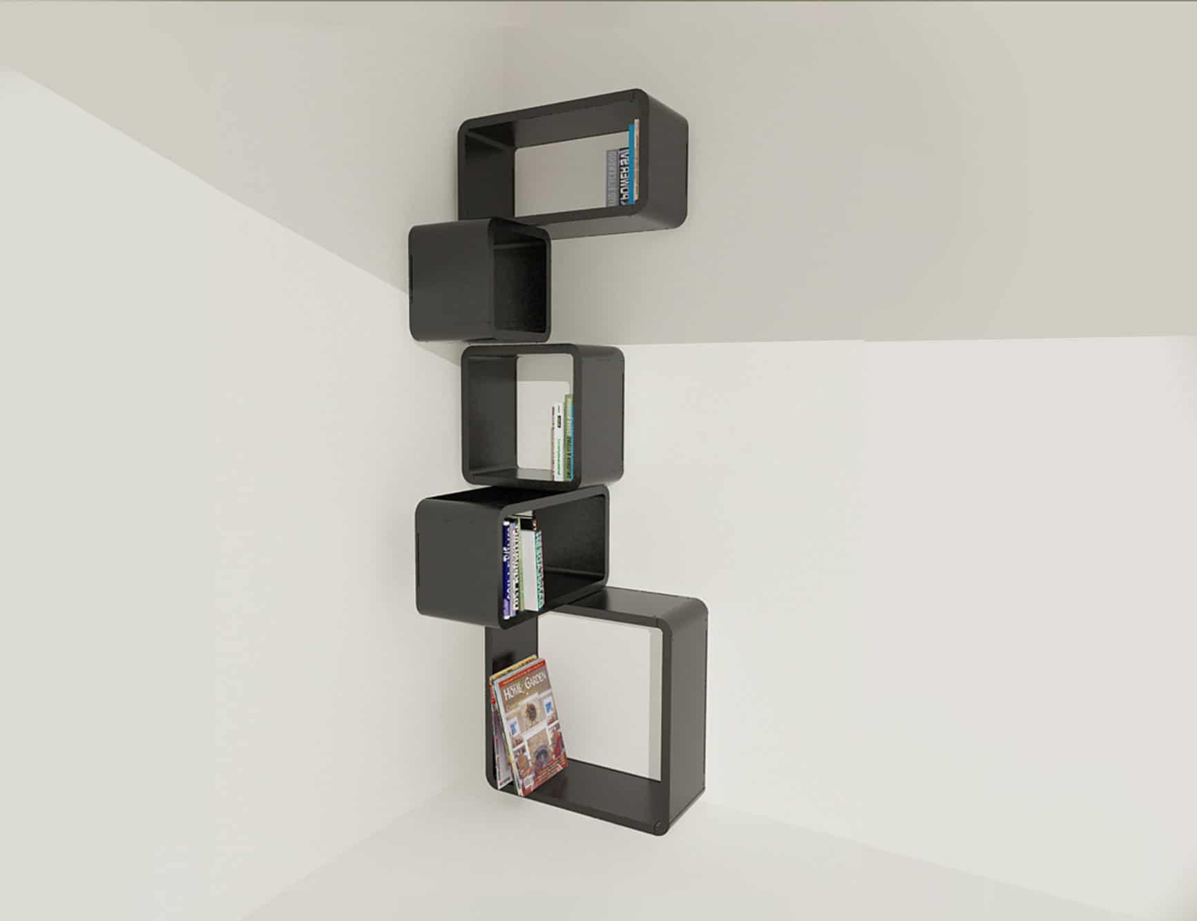 Modular Corner Cube Wall Shelf M in Black 1