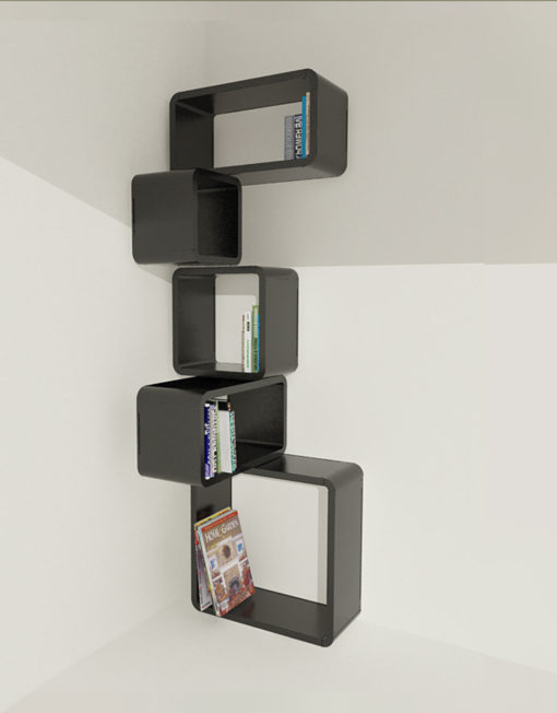 Modular Corner Cube Wall Shelf M In Black