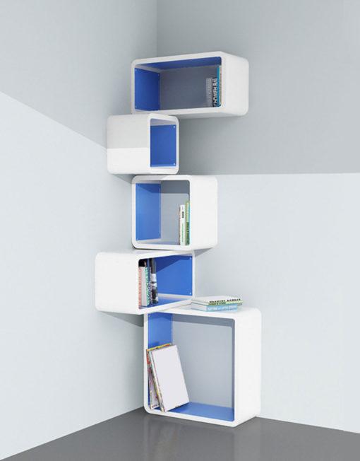 Modular Corner Cube Wall Shelf M In White