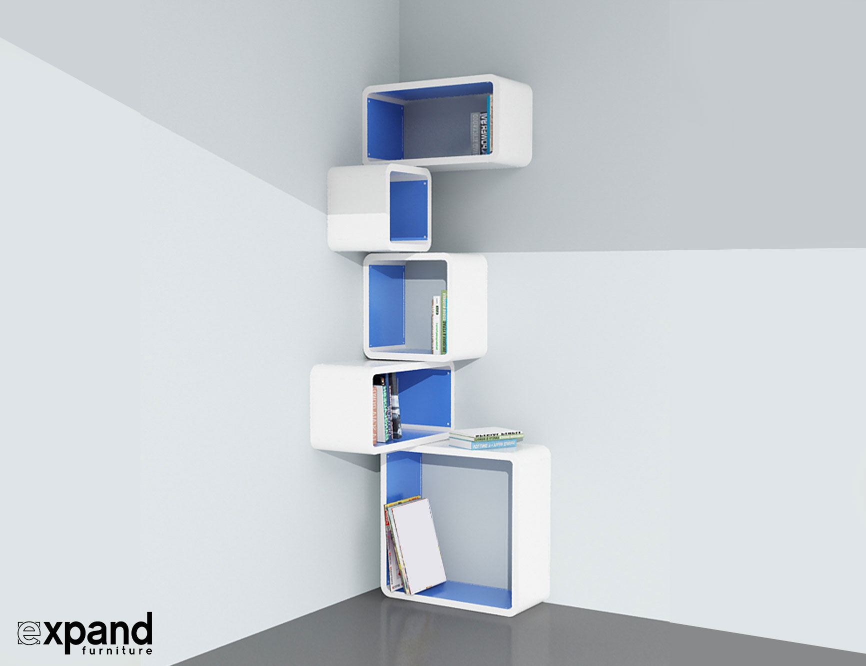 Modular Corner Cube Shelf M Expand Furniture : Modular Corner Cube Wall Shelf M in white and Blue from expandfurniture.com size 1733 x 1333 jpeg 91kB