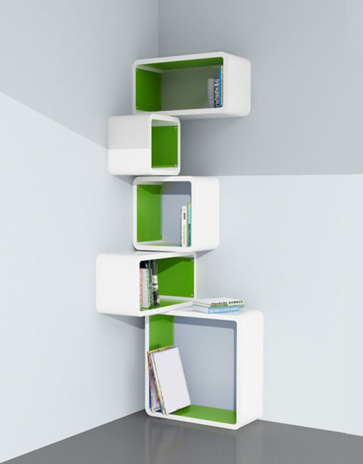 Modular-Corner-Cube-Wall-Shelf-M-in-white-and-Green