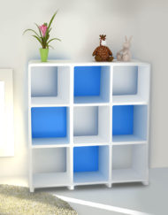 Modular-Storage-L3030-3x3-white-bookcase-storage-with-blue-backs-&-legs