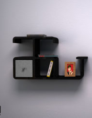 Modular-Wall-Shelf-Dolphin-in-black-with-grey-storage-bin