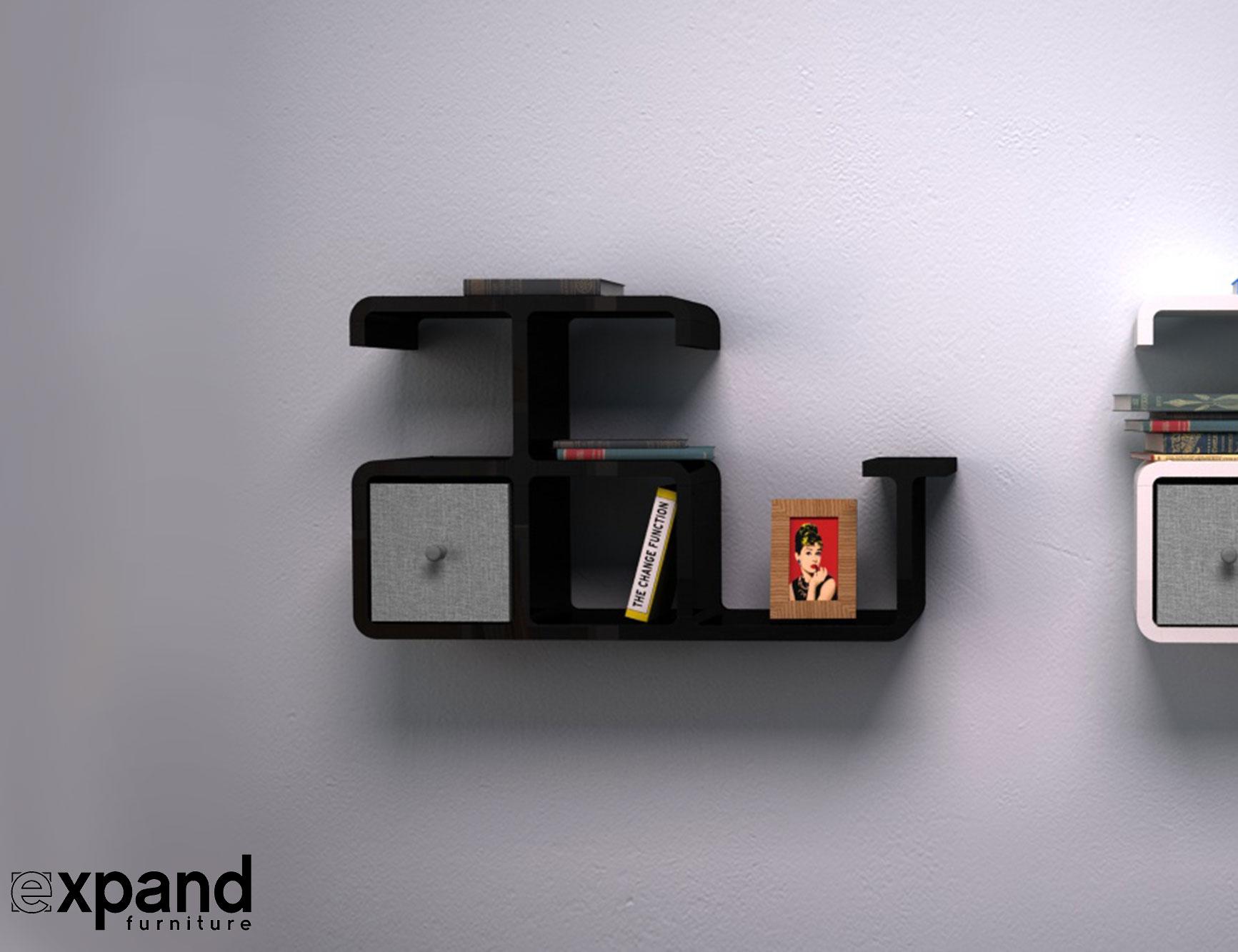 Modular Wall Storage Dolphin Shaped Wall Shelving Expand Furniture
