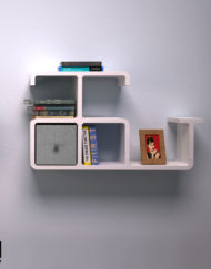 Modular-Wall-Shelf-Dolphin-in-white-with-grey-storage-bin