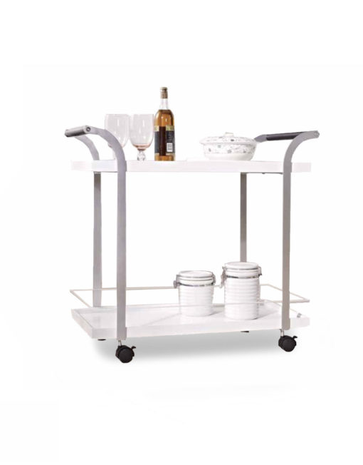 Motion Tea Trolley Cart In Glossy White