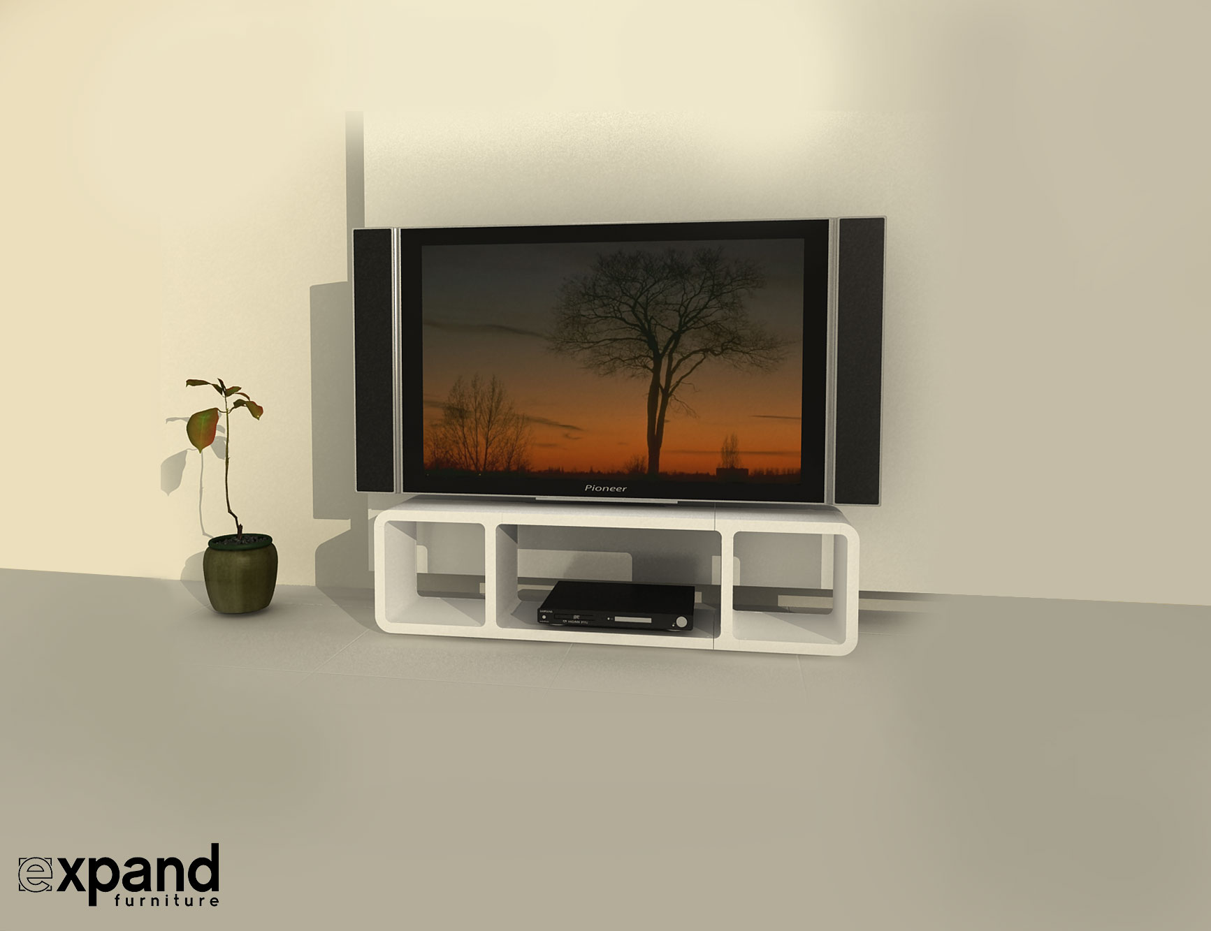 Tm3 Slim Low Profile Tv Stand Expand