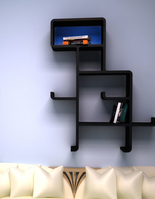 Wall-Shelf-Dinosaur-in-black-and-blue-face-above-sofa