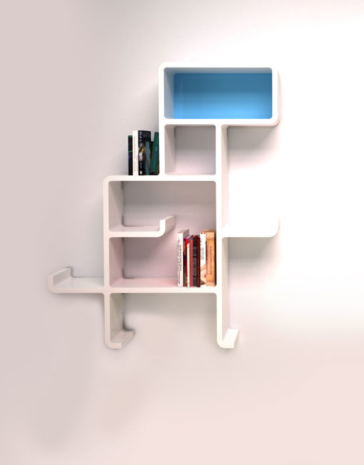 Wall-Shelf-Dinosaur-in-white-with-blue-face