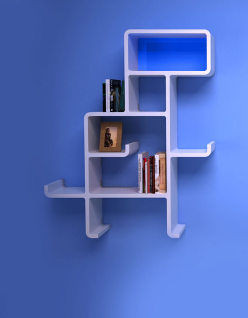 Wall-Shelf-Dinosaur-in-white-with-blue-face-on-blue-wall