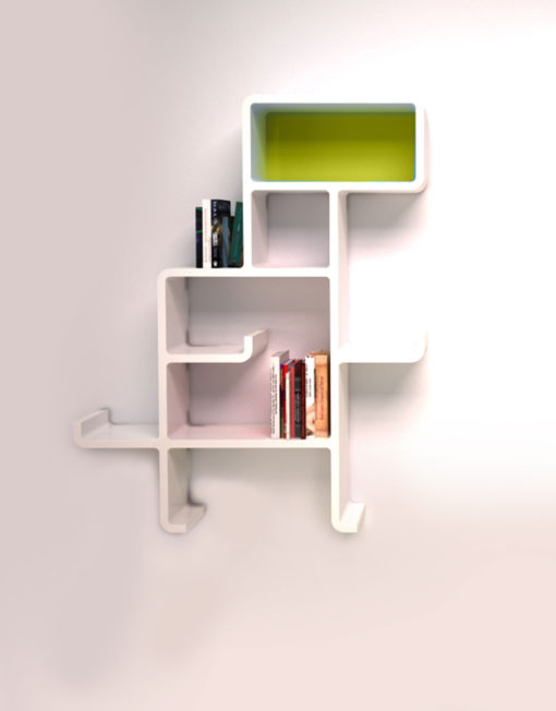 Wall-Shelf-Dinosaur-in-white-with-green-face