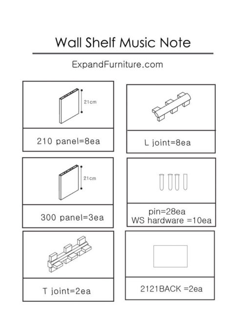 Wall-shelf-music-note-parts