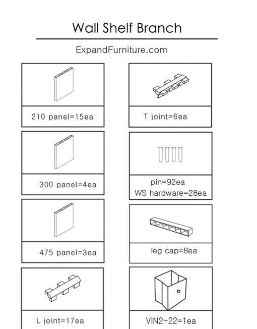 Wall-shelving-Branch-parts